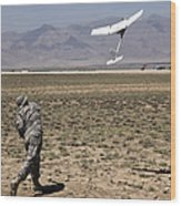 U.s. Army Soldier Launches An Rq-11 Wood Print