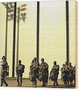 U.s. Army Soldiers Prepare To Board Wood Print