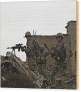 U.s. Army Soldiers Provide Security Wood Print