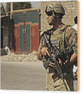 U.s. Army Specialist Provides Security Wood Print