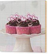 Valentine Cupcakes Wood Print
