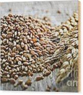 Wheat Ears And Grain Wood Print
