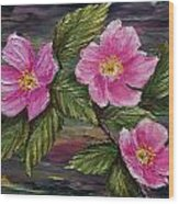 3 Wild Roses Wood Print