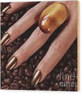 Woman Hands In Coffee Beans Wood Print