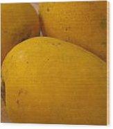 3 Yellow And Luscious Mangos On A White Sheet Wood Print
