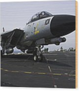 An F-14d Tomcat On The Flight Deck Wood Print