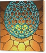 Buckyball Molecule, Artwork Wood Print