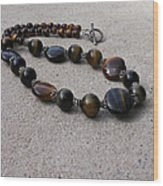 3595 Tigereye And Bali Sterling Silver Necklace Wood Print
