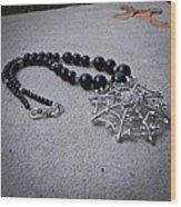 3596 Spiderweb Rhinestone Pendant Necklace Wood Print