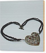 3597 Vintage Heart Brooch Pendant Necklace Wood Print