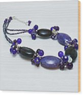 3598 Purple Cracked Agate Necklace Wood Print