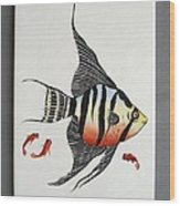 361 Tile With Fishes Wood Print by Wilma Manhardt