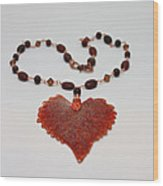 3610 Iridescent Copper Plated Cottonwood Leaf Pendant Necklace Wood Print