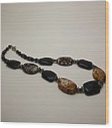 3617 Crackle Agate And Onyx Necklace Wood Print