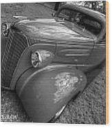 37 Chevy Coupe Bw Wood Print