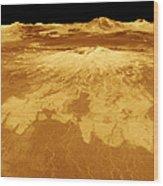 3d Perspective View Of Sapas Mons Wood Print