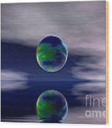 Planet Reflection Wood Print