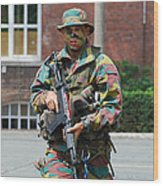A Paratrooper Of The Belgian Army Wood Print