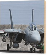 An F-14d Tomcat In Launch Position Wood Print