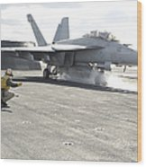 An Fa-18f Super Hornet Launches Wood Print