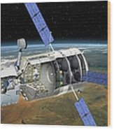 Atv Docked To The Iss, Artwork Wood Print