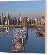 Chicago Skyline Wood Print by Jeff Lewis