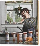 Depression And Addiction Wood Print