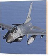 Dutch F-16am During A Combat Air Patrol Wood Print