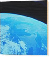 Earth Viewed From A Satellite Wood Print