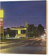 Estonian Gas Station At Night Wood Print by Jaak Nilson