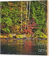 Fall Forest And River Landscape Wood Print