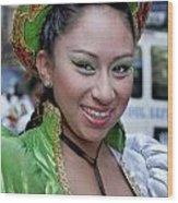 Hispanic Columbus Day Parade Nyc 11 9 11 Female Marcher Wood Print