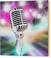Microphone On Stage Wood Print by Setsiri Silapasuwanchai