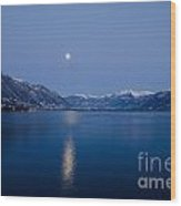 Moon Light Over An Alpine Lake Wood Print