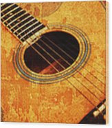 Old Guitar Wood Print
