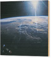 Planet Earth Viewed From Space Wood Print by Stockbyte