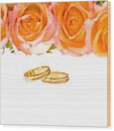 4 Red Yellow Roses And Wedding Rings Over White Wood Print