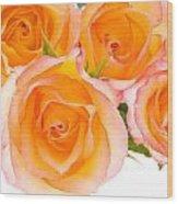4 Roses Over White Wood Print