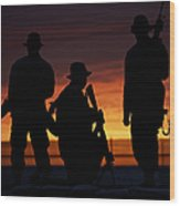 Silhouette Of U.s Marines On A Bunker Wood Print