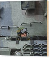 Tank Driver Of A Leopard 1a5 Mbt Wood Print by Luc De Jaeger