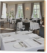 Upscale Hotel Dining Room Wood Print