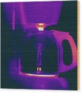 Warming Coffee Machine Wood Print
