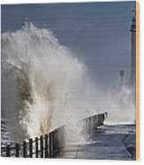 Waves Crashing By Lighthouse At Wood Print