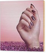 Woman Hand With Purple Nail Polish Wood Print