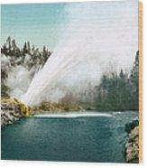 Yellowstone Park: Geyser Wood Print