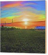 49- Electric Sunrise Wood Print
