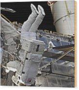 Astronaut Participates Wood Print