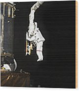 Astronaut Working On The Hubble Space Wood Print