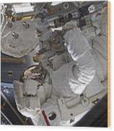 Astronaut Working On The International Wood Print