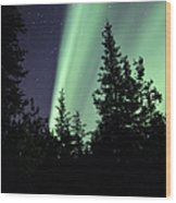 Aurora Borealis Above The Trees Wood Print
